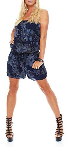 malito Damen Einteiler mit Flower Print   kurzer Overall mit Stoffgürtel   Jumpsuit