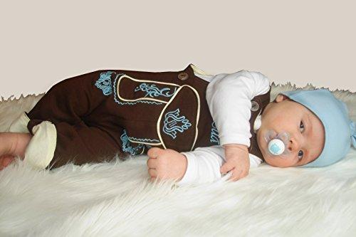 BLH Babylederhose LANG und KURZ (aus Baumwolle, in Lederhosenoptik) von Mogo.cc Stick blau