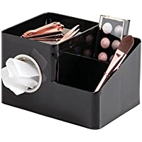 mDesign Organizador para baño y lavabo – Práctico organizador de accesorios para baños y cosméticos – Elegante organizador de maquillaje para baño con dispensador de pañuelos – negro/plateado mate