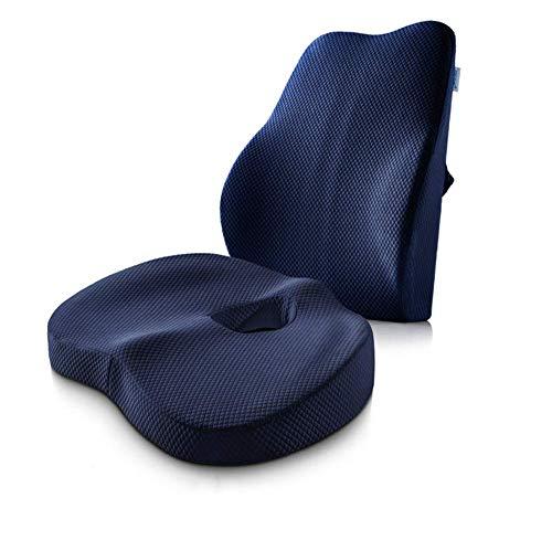 ZMXZMQ Sitzkissen Steißbein Orthopädisch Und Lordosenstützkissen, 2Er-Set, Für Computer/Schreibtischstuhl, Auto, Liege, Rollstuhl,Navy - Stuhl Navy Computer