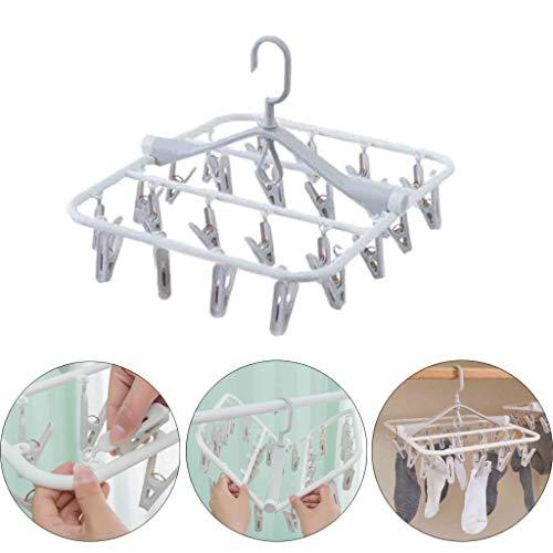 Mini Wäschespinne Faltbar aus Kunststoff - Wäscheständer Hänge Wäschetrockner Winddicht Trockengestell mit 24 x Wäscheklammern zum Trocknen, Socken, Unterwäsche, Handtücher VNEIRW (Weiß)