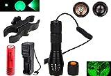 Windfire LED verte 274,3 m tactique lampe torche Zoomable spot Flood Light Lampe torche de chasse Kits de lampe avec interrupteur à pression, Scope Mount,Batterie rechargeable et chargeur