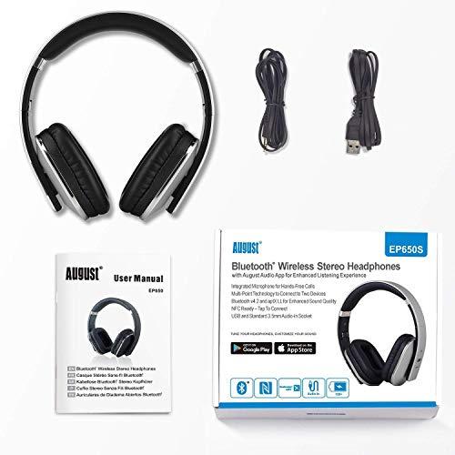 August EP650 Bluetooth v4.2 NFC Kopfhörer mit aptX Low Latency – Kabellose Over-Ear Headphones mit individuellem Sound (silber) - 7