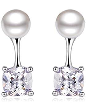 Wunhope Ohrringe Damen Mädchen 925er Sterling Silber Mode Perle mit Zirkonia Einfache Edel Hypoallergen Stecker