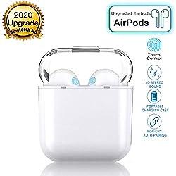 Écouteurs Bluetooth sans Fil Oreillettes 5.0,950mAh Boîte de Charge Casque Stéréo Écouteurs Sport Étanche pour Apple Airpods Android iphone Blanc,Touchez