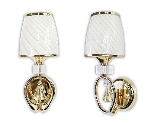 Vetrineinrete® lampada da comodino a parete lume a muro applique moderno lumetto abat jour con pendoli in vetro oro o argento e18 (oro) b18
