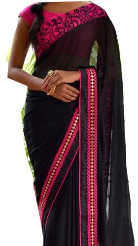Sarees ( Black & Pink Color 60GM & Raw silk Fabric Multiwork...