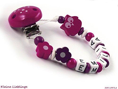 Preisvergleich Produktbild Schnullerkette mit Namen Mädchen Blumen Eule - dunkelpink, lila, weiß, beere, pink (6 Buchstaben)