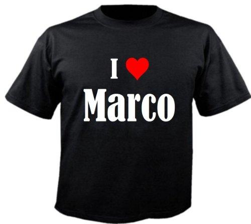 """T-Shirt """"I Love Marco"""" für Damen Herren und Kinder ... in der Farbe Schwarz Schwarz"""