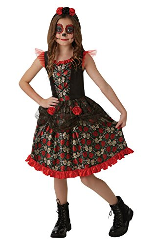 Dead Girl Kostüm Party - Rubie's 2640059XL Red Rose Day of the Dead, Kostüm für Kinder, 9-10Y