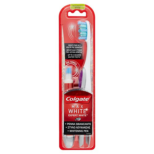 Colgate Spazzolino Penna Sbiancante Expert White - Pacco da 1 Spazzolino + 1 Penna Sbiancante
