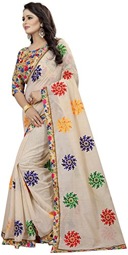 Shreeji Designer Women's Chanderi Cotton Embroidered Saree with Blouse Piece(VS-2246-1_Off White_Free Size) 2