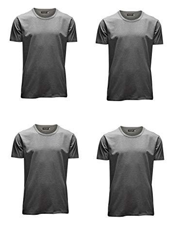 JACK & JONES Herren T-Shirt Basic 4er PACK O-Neck V-Neck Tee S M L XL XXL (M, 4er O-NECK grau)
