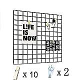 DIY Raster Foto Wand Eisen Gitter Dekoration Plaid Hängen in der Familie, Küche Büro und so weiter 23.5*23.5 in (Schwarz)