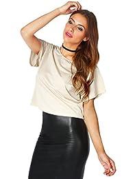 KRISP Top Mujer Camiseta Brillante Metálico Ancha Verano 2017