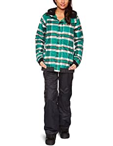 O'Neill Women's Peridot Jacket  Snow  -  Green Aop, X-Small