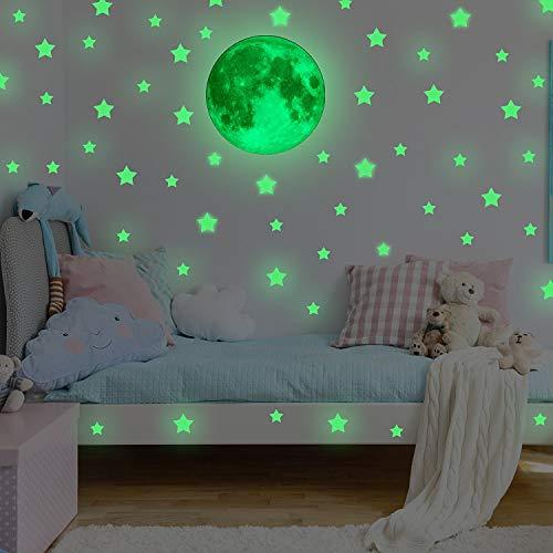 Wandsticker Leuchtaufkleber Leuchtsticker 30x30CM Mond und Sterne Fluoreszierend Wandaufkleber Hausdekoration für Schlafzimmer Wohnzimmer Kinderzimmer