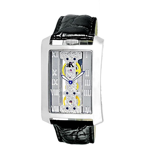 ADEE Kaye Men's Silver-Tone Calfskin Band Steel CASE Automatic Watch AK7171-M