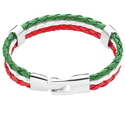 Taffstyle® Stylisches Armband PU Lederarmband Kordelarmband Fanartikel Fussball Weltmeisterschaft WM & EM Europameisterschaft 2016 Länder Style geflochten - Italien - 21cm (Wm Italia Italien)