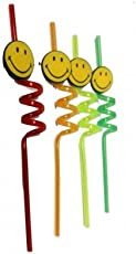 Generic Fun Curly PVC Drinking Reusable Straws- (Set of 4)