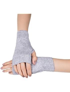 Hustar - Guantes de invierno para mujer, cálidos, sin dedos, guantes de ganchillo, calentadores de muñeca gris...