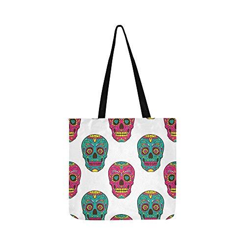 Day Dead Bunte Sugar Skull SHAOKAO Canvas Tote Handtasche Schultertasche Crossbody Taschen Geldbörsen für Männer und Frauen Einkaufstasche