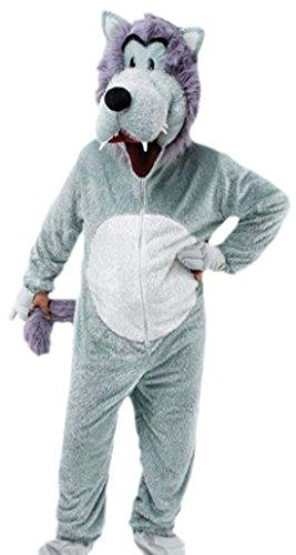 Karnevalsbud - Herren Karnevalskomplett Kostüm Overall Wolf, XL, (Kostüm Men Tier Halloween X)