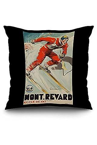 Mont - Revard - Ecole de Ski Vintage Poster (artist: Ordner) France c. 1935 (20x20 Spun Polyester Pillow Case, Black Border)