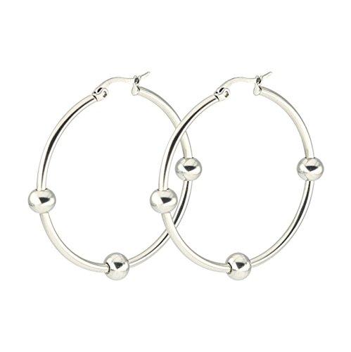 Aooaz Schmuck 1 Paare / 2 Stück Creole Ohrringe 30mm Edelstahl Allergiefrei Silber Ohrringe mit Kugel Ohrringe Damen Frauen