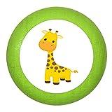 """Holz Bucheknauf """"Giraffe"""" limette grün Holz Buche Kinder Kinderzimmer 1 Stück wilde Tiere Zootiere Dschungeltiere Traum Kind"""