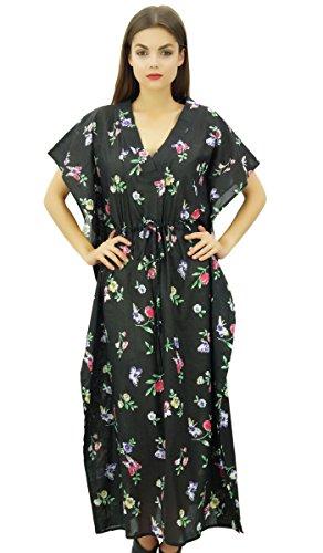 Bimba Damen Blumen Kaftan Kleid lange Maxi Boho Kaftan Vertuschung mit Tunnelzug (Kordelzug Kimono)