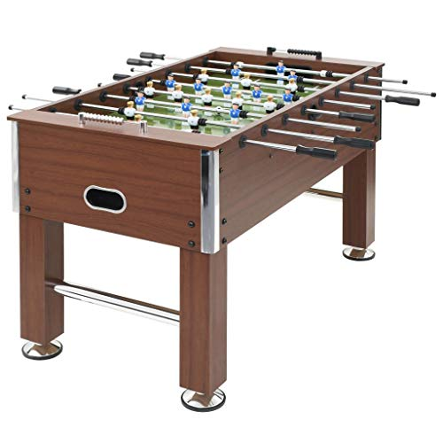 Festnight Football Table, 8-Rod Soccer Table Machine Football Soccer Game Toy for Kids, Family and Party 140x74.5x87.5cm Brown, 60KG