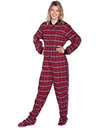 Big Feet Pajama Co. Red Plaid Cotton Flannel Tartan Adult Footed Pyjamas  Onesie for Men 0fe750ae8