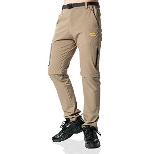 SEEU Trekkinghose Zip Off Atmungsaktiv Wanderhose Outdoor Hose Entfernbar Schnell Trockend (Mit Gürtel) (Khaki, S)