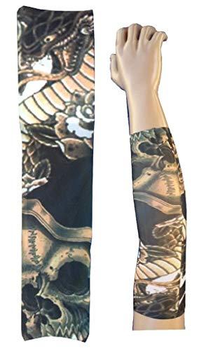 Evrylon manicotto tatuaggio uomo maniche finto tatoo indossabile mezze maniche con immagine scheletro teschio morte drago rettile serpente rose tribale w98 ts93 taglia unica
