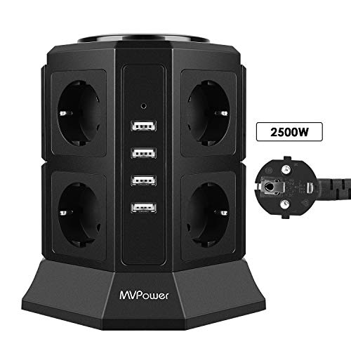 MVPOWER Steckdosenleiste, Mehrfachsteckdose mit 8 Fach Steckdosenturm (2500W/10A) und 4 USB Ladeanschlüsse (5V/4,5 A), Kabelänge: 2m, inkl. Überspannungsschutz und Kurzschlussschutz -