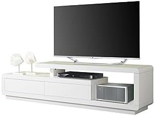 Meuble TV design coloris blanc laqué