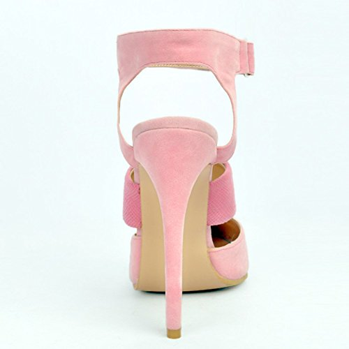 Kolnoo Damen Faschion 13cm Slingback elastische Knöchel Bügel dünne Absatz Sandelholze Pink