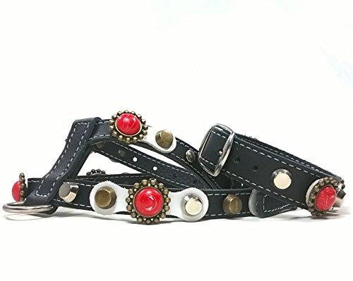 Superpipapo Set Harnais Petit Chien Chiot Chihuahua et Moyen avec Bracelet a Jeux, Pierres Polaris Style Corail Rouge et Cuir Blanc Clouté, ML; Cou: 32-37 cm, Poitrail: 47-52 cm