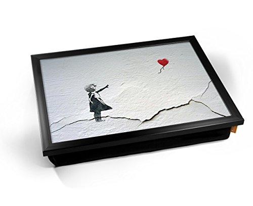 Cracked Banksy Heart Balloon Girl Graffiti Cushioned Bean Bag Breakfast Bed Lap Tray Desk Kissen Tablett Knietablett Kissentablett - Schwarzer Rahmen