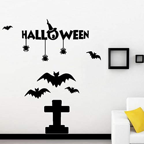 Guyuell Happy Halloween Kürbis Knochen Wandaufkleber Fenster Dekoration Abziehbild Dekor Halloween Dekoration Horror Hof Party Dekoration 70X60Cm