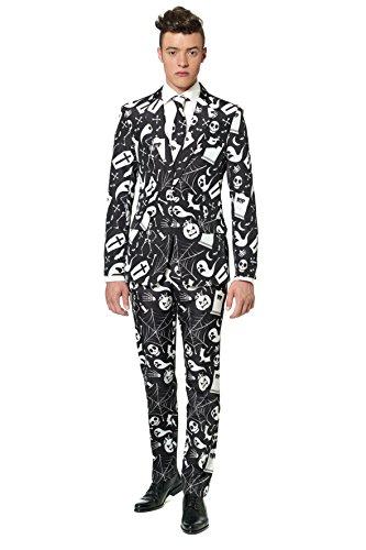 Generique - Schwarz Weißer Suitmeister Anzug für Herren Halloween L (Weißen Anzug Fancy Dress)