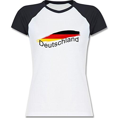 Länder - Deutschland - zweifarbiges Baseballshirt / Raglan T-Shirt für Damen Weiß/Navy Blau