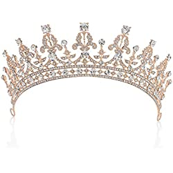 Corona de boda real de SWEETV, corona de cristal con circonitas cubicas, tiara para, tocado de novia, accesorio para el cabello,