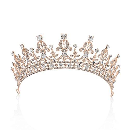 Couronne royale ornée de zircon cubique cristal fabriqué par SWEETV pour femme, un accessoire de cheveux pour la mariée ou pour les concours de beauté, Or Rose