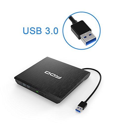 Externes DVD Laufwerk, DOY USB 3.0 DVD/CD-RW Brenner Tragbar CD Laufwerk mit USB Ports für Apple MacBook Pro, Air and iMac,Windows 2003/XP/Vista/7/8/10,Linux,PC und Laptops/Desktop- Schwarz(Aufgerüstet)
