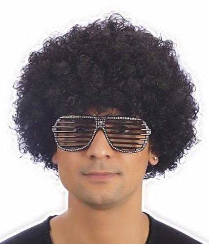 Disco Kostüm Funky - Afro Perücke Gelockt Kostüm Funky Disco Clown Herren/ Damen Unisex 11 Farben - Schwarz