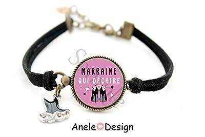 Bracelet Cadeau pour marraine - robe noir