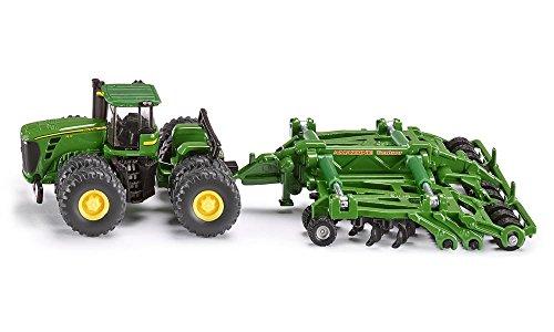 SIKU 1856, John Deere 9630 Traktor mit Amazone Centaur Grubber, 1:87, Metall/Kunststoff, Grün, Hochklappbare Grubberelemente