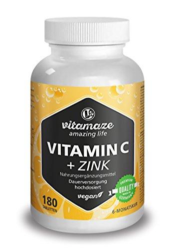 Vitamine C fortement dosée 1000 mg + bioflavonoïdes + zinc, 180 comprimés végétaliens, quantité pour 6 mois, produit de qualité allemande sans stéarate de magnésium, GARANTIE DE REMBOURSEMENT À 100 %